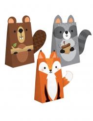 8 Sacs cadeaux en papier animaux de la forêt 11,4 x 20 cm