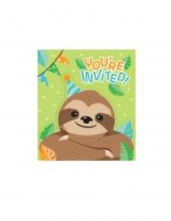 8 Cartons d'invitation avec enveloppes paresseux mignon 11,4 x 11,4 cm