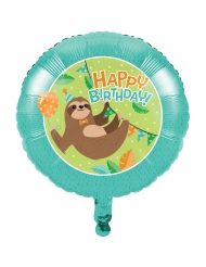 Ballon en aluminium happy birthday paresseux mignon 45 cm