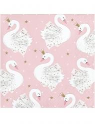16 Petites serviettes en papier cygne royal roses 25 x 25 cm