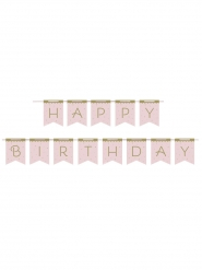 Bannière en carton happy birthday cygne royal rose 2,1 m