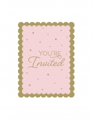 8 Cartons d'invitation avec enveloppes cygne royal roses 11,4 x 15 cm