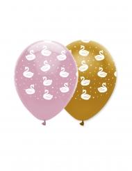 6 Ballons en latex cygne royal roses et dorés 30 cm