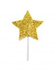 12 Cake toppers sur pic étoile dorée pailletée 6,5 cm