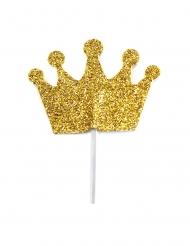12 Cake toppers sur pic couronne dorée pailletée 6,5 cm