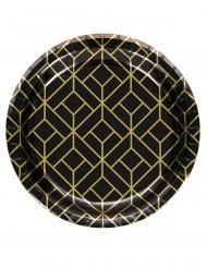 8 Petites assiettes en carton années 20 noires et dorées 18 cm