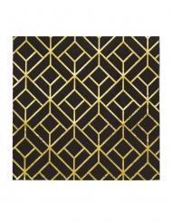 16 Serviettes en papier années 20 noires et dorées 33 x 33 cm