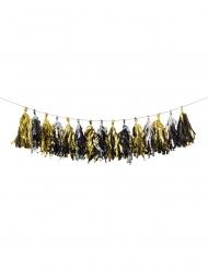 Guirlande de tassel en papier noir, doré et argenté 2,4 m