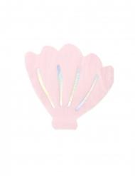 20 Serviettes en papier forme coquillage rose 13 x 12,5 cm