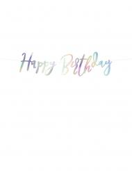 Guirlande en carton happy birthday iridescent 16,5 x 62 cm