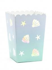 6 Boîtes à popcorn en carton licorne des mers 7 x 7 x 12,5 cm