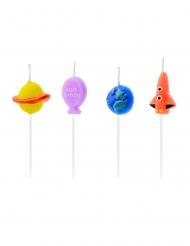 4 Bougies d'anniversaire astronaute 2 - 3 cm