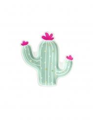 6 Assiettes en carton forme cactus menthe 23 x 24 cm