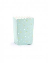 6 Boîtes à popcorn en carton menthe à pois 7 x 7 x 12,5 cm