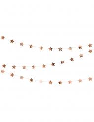 Guirlande en carton étoiles métallisées rose gold 3,6 m