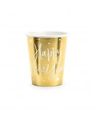 6 Gobelets en carton happy new year dorés 220 ml
