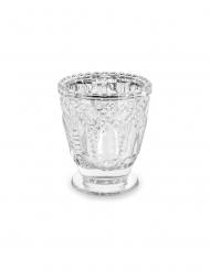 4 Photophores en verre transparent 8 cm