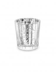 Photophore en verre argenté 6 cm