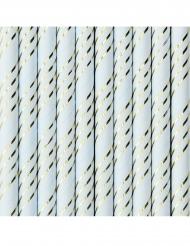 10 Pailles en carton bleues rayées doré métallisé 19,5 cm