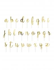 Kit cake toppers en bois lettres dorées métallisées 9,5 - 12 cm