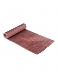 Chemin de table en velours rose poudré luxe 2,5 m