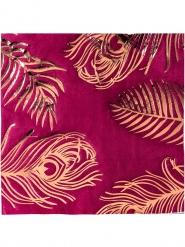 16 Serviettes en papier marsala plumes de paon rose gold 33 x 33 cm