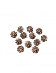 12 Mini pommes de pin paillettes champagne 2 cm
