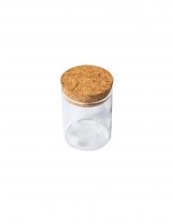 Fiole en verre flocons blancs bouchon liège 4,5 x 6 cm