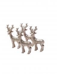 4 Figurines en résine cerf paillettes champagne 4,5 x 8,5 cm