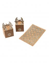 Set calendrier de l'avent renne argenté stickers et ficelle 5 x 7,5 cm