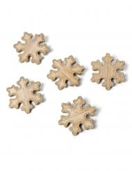 5 Décorations en bois flocons paillettes cuivre 6 cm