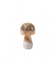 Champignon en bois sequins étoiles 4,5 x 8,3 cm