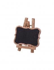 4 Ardoises sur chevalet en bois paillettes cuivre 8 x 4,7 cm