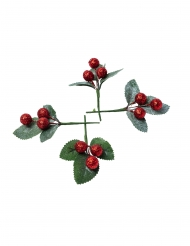 4 Branches boules paillettes rouges 8 cm