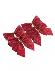 6 Nœuds adhésifs paillettes rouges 5,5 cm
