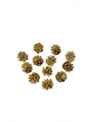 12 Mini pommes de pin paillettes dorées 2 cm