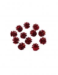 12 Mini pommes de pin paillettes rouges 2 cm