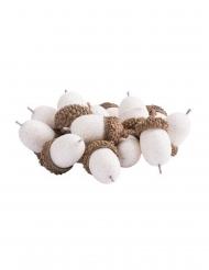 15 Glands paillettes blanches irisées 3 cm