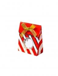 8 Contenants en carton rouge et blanc avec nœud or 7 x 8,5 cm