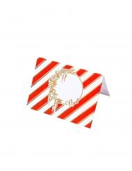 8 Marque-places en carton rouge, blanc et doré 8 x 6 cm