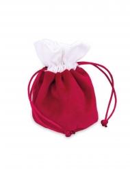 4 Pochons bourses en velours rouge et coton blanc 6 x 11,5 cm