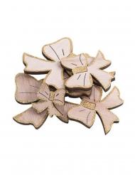 12 Nœuds en bois paillettes or 9, 6,5 et 4 cm