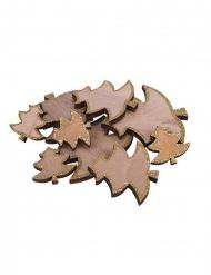 12 Sapins en bois paillettes dorés 7,5, 5,5 et 3,5 cm