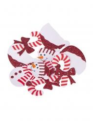 80 Confettis de table Noël paillettes rouges 3,5 cm