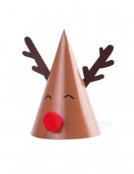 8 Chapeaux en carton rudolph pompon rouge 11 x 17 cm