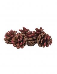 6 Pommes de pin paillettes rouges 4 cm