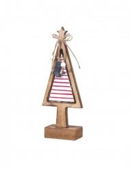Sapin sur socle bois lumineux 27 cm