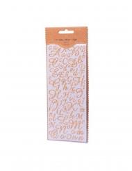 167 Stickers alphabet et chiffres paillettes or 0,8 à 2 cm