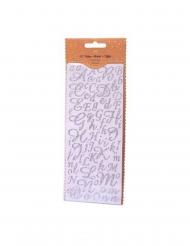 167 Stickers alphabet et chiffres paillettes argent 0,8 à 2 cm