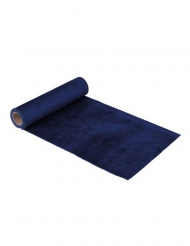 Chemin de table en velours bleu marine luxe 2,5 m